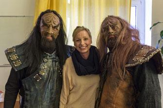 Die Klingonen Cord Striemer und Volker Koopmanns. In der Mitte Maskenbildnerin Daniela Wintgens
