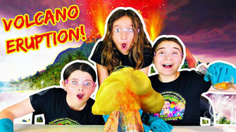 kids learning videos, science experiments for kids, volcano science project, volcano, eruption, wild adventure girls science,