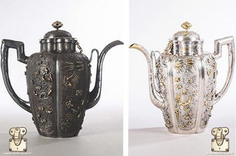 Restoration of a silver jug ​​enhanced with gold (China, circa 1680-1685) Which was offered to Louis XIV in 1686   before and after its restoration sponsorship of the LVMH group.   Castle of Versailles