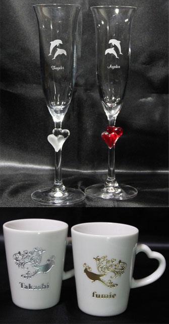 ペアグラス・ペアマグカップ(ハートデザイン)の商品例