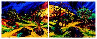 """Foto: """"Mein Garten"""" (Diptychon, 2011, Öl/Lwd. 168x432cm Foto: Helmut Schreiber)"""