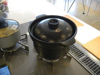 今回はお米も土鍋で炊きました。コンロに「炊飯モード」があり、自動で火加減を調整してくれます。