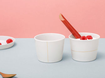 Kafeebecher Teeschale Porzellan Goldlinie