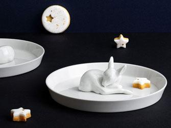 Rehkitzteller Porzellan Weihnachstteller Gebäckteller Keksteller