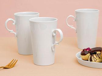 Henkelbecher Porzellan Kakao, Kaffee, Tee