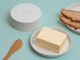 Butterdose rund Porzellan mit Prägung