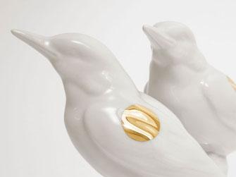 Eisvogel Porzellan Golddekor