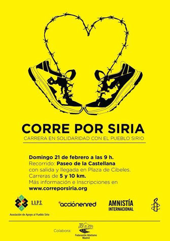 Corre por Siria. Domingo 21 de febrero a las 9´00. Plaza de Cibeles.