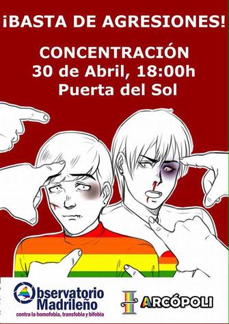 ¡Basta de agresiones! Concentración 30 de abril, 18'00. Puerta del Sol