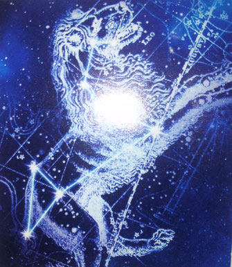 """Leo, der Löwe, ist einer von 12 Konstellationen im Zodiak und kann einfach am Nachthimmel identifiziert werden. Man schaut nach dem """"Fragezeichen"""". Der blaue Zwergstern Regulus ist an der Basis des Zeichens."""