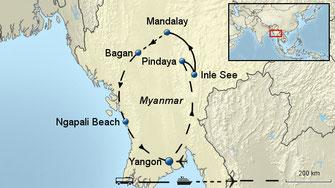 Myanmar Rundreise und Baden 2 Wochen Gruppenreise mit Flug NEU: auch ärztlich begleitete Myanmar Rundreisen 2018 buchbar !