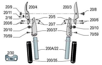 Ersatzteile für die Astschere Felco 200A-40