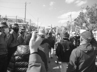 沖日労は名護新基地建設阻止の現地攻防に連日決起している