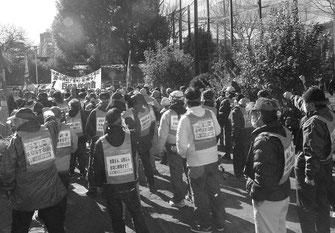 玉姫公園で金町一家解体にむけた決意を固めた全国の日雇い労働者