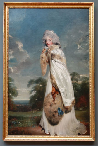 'Elizabeth Farren' (Irish Actress), Sir Thomas Lawrence, c. 1790, The Metropolitan Museum of Art. Her cream white dress and cape and the brown fur trimming, muff and the delicate gloves are very chic. picture taken by Nina Möller