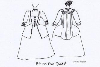 Pet-en-l'air jacket illustration, Rococo fashion (© Nina Möller)