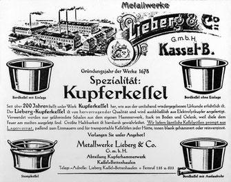 Werbung der Metallwerke Lieberg & Co (Stadtmuseum Kassel)
