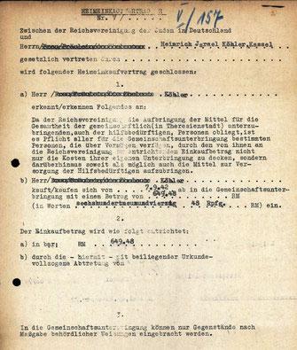 Heimeinkaufsvertrag H für Heinrich Köhler