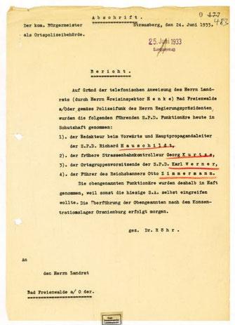 Bericht über die Verhaftung von vier Funktionären der SPD in Strausberg