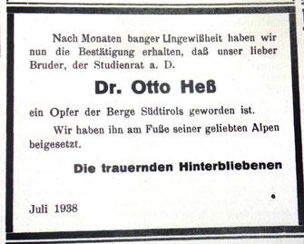 Todesanzeige im Jüdischen Gemeindeblatt