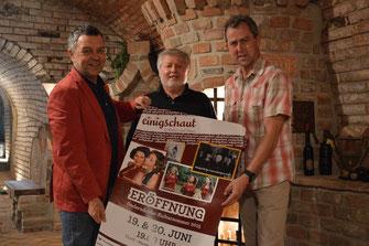 """Organisationsteam von """"einigschaut"""". V.l.n.r.: Johannes Fries, Karl Weber und Karl Reuter. Foto: WaPA."""