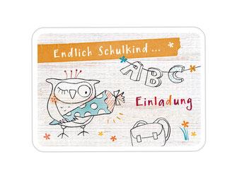 """Einladungskarte Einschulung """"Eule"""" gelb"""