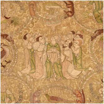 Cette photo représente une partie de la chape de la vierge, vêtement liturgique faisant partie du trésor de la cathédrale de Saint-Bertrand-de-Comminges, village historique de haute-garonne, site historique des Pyrénées centrales