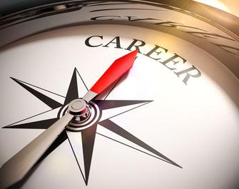 Kompass, der zur Karriere zeigt