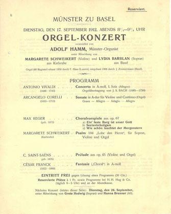 Programmzettel Orgelkonzert im Münster zu Basel am 17. September 1912