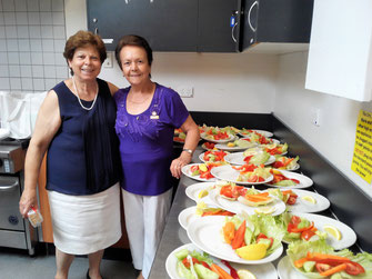 Koula Spatharo and Irini Michailoglou helping out in the food preparation