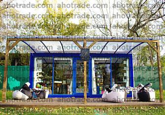 Мобильный торговый павильон containex с витриной