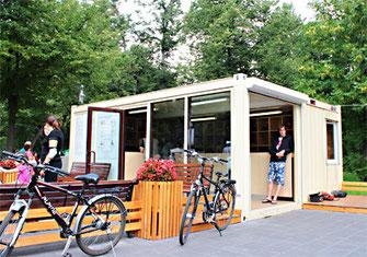 Павильон проката велосипедов из блок-модулей containex