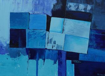 Farbe blau, Acryl, gespachtelt