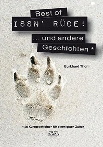 Buchcover der Hundeanthologie Best of ISSN' RÜDE mit einem Pfotenabdruck im Sand als Motiv