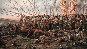 Los Tercios españoles en la batalla de Rocroi por Augusto Ferrer Dalmau.