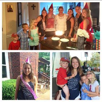 Überraschung!, mit Partyhütchen und Schärpe, mit den Kids vor Cracker Barrel