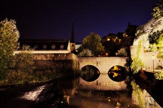 Der Fluss Alzette an den Casemates du Bock