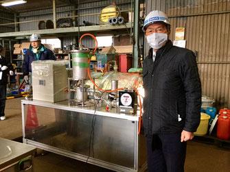 バイオマス発電実証実験を見学(1月23日、北九州市)