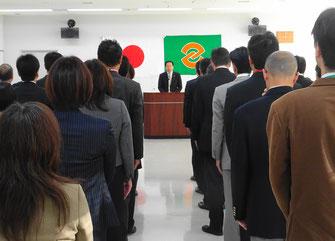 年頭の挨拶を述べる中村隆象市長