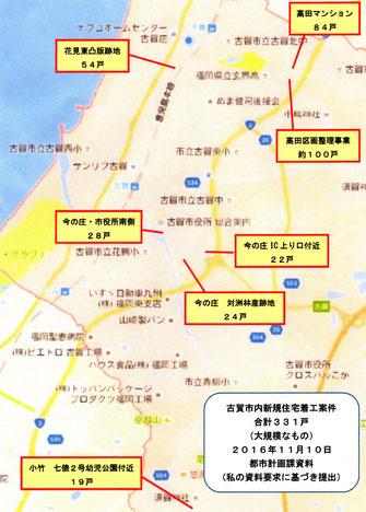 新規着工住宅が予定されている地域
