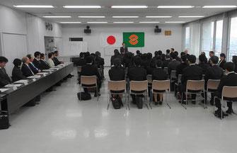 教職員の赴任式(市役所大会議室)