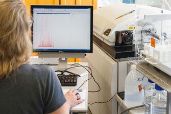 Beim Eintritt eines Nanopartikels ins Plasma entsteht ein diskontinuierliches Signal. (Foto: Fraunhofer IGB)