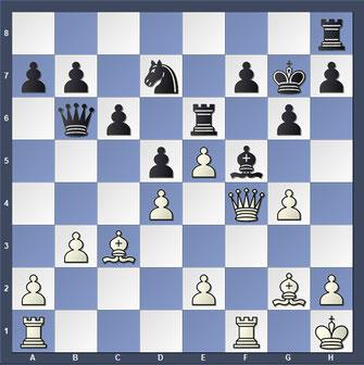 Die Stellung nach dem 19. Zug von Weiß g3 - g4