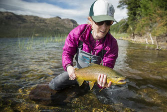 Fly fish Central Patagonia, Argentina, FFTC.club destination, El Encuentro Fly Fishing partnered Laguna Larga Lodge, Fly fish freshwater destinations. Wild and Trophy Trout. Brown trout