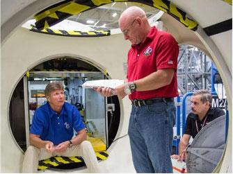 Padalka, Kelly und Kornienko beim Training (NASA)
