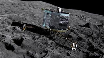 Lander Philae auf Komet Tschury | Grafik: ESA