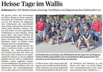 Bericht ASV Rothrist im Wallis am Eidgenössischen
