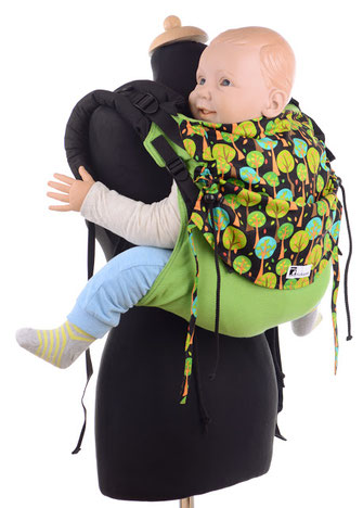 Onbuhimo Preschooler by Huckepack, very adjsutable panel, made from wrap fabric, well padded shoulder straps, many designs available