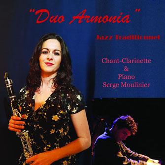 Duo Armonia, Jazz traditionnel, Serge Moulinier au piano et Armonia Serrano au chant et à la clarinette. Dîner concert le samedi 5 décembre 2020, les Acacias, Cénac