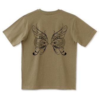 幻の蝶を求めて1-ハイビスカス柄-  Tシャツ(サンドカーキ)